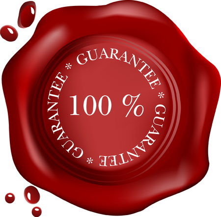 wax seal with text: satisfaction, with drops  Vector