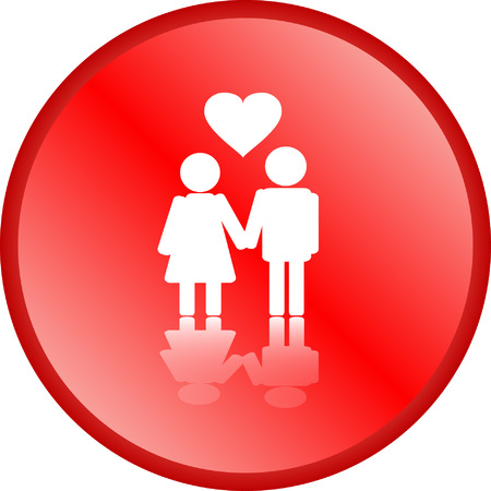 Love couple with heart button  Stock Vector - 5223291