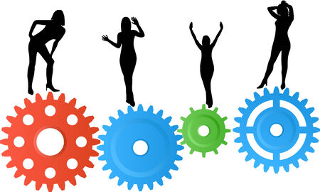 Woman silhouettes on colourful gear wheels Vector