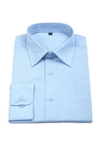 man's shirt: A new blue mans shirt isolated over a white background