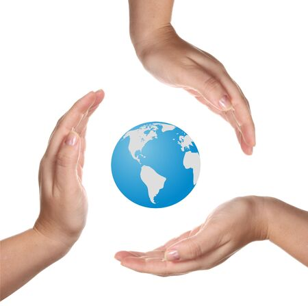 Conceptual safety symbol made from hands over Earth globe Stock Photo - 5270647