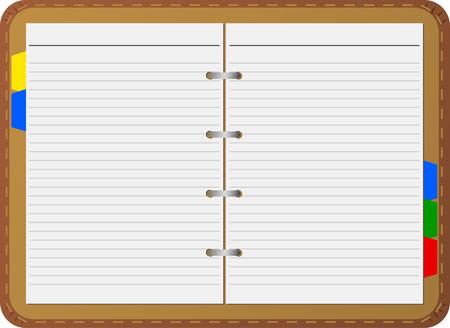 educational materials: Open notepad, vector, detailed Illustration