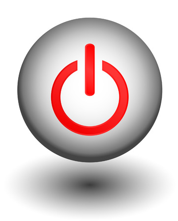 Web red power web button, icon Vector