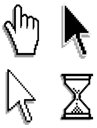 Web hand and arrow cursor with hour-glass Vector