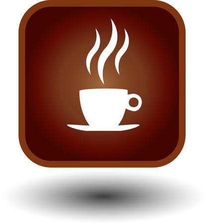 food button, hot coffee icon Vektorové ilustrace