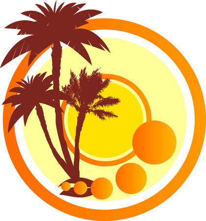 Three palm trees and sun on a white background