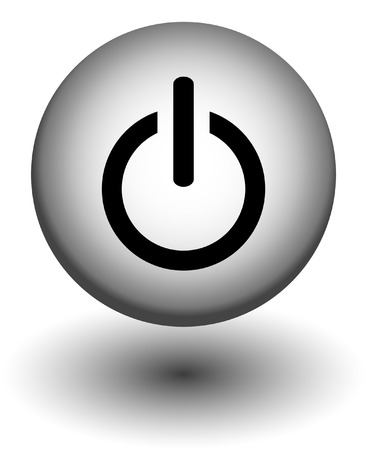 run off:  power button icons,white and black, vector Illustration