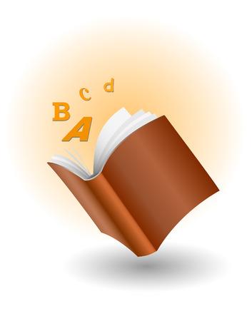 vector boek met vliegende letters
