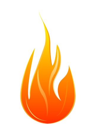 Flame, fire over white background