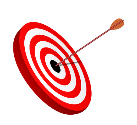 hunters: Arrow right on the target, symbol of winning