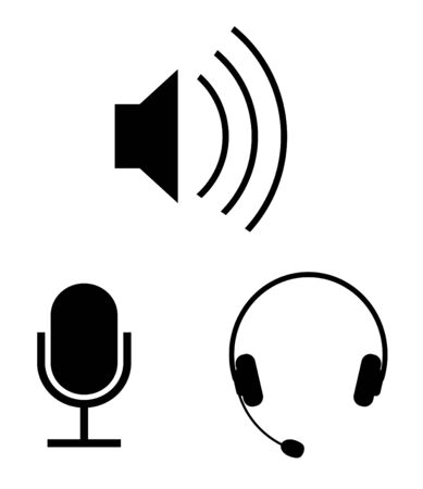 mic: Eenvoudige audio vector icons  Stock Illustratie