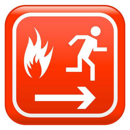 salida de emergencia: Signo de seguridad de emergencia de incendio  Vectores