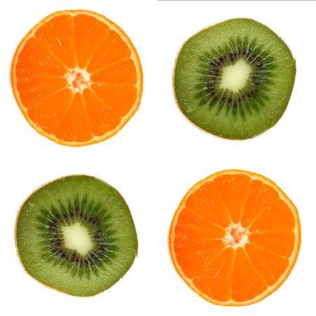 Four fruit slice,  orange and kiwi on white photo