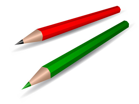 Two coloured pencils, vector Vector