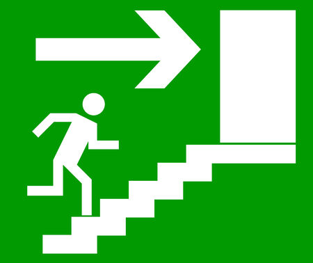 depart: Emergency exit door, sign with human figure on stairs, vector