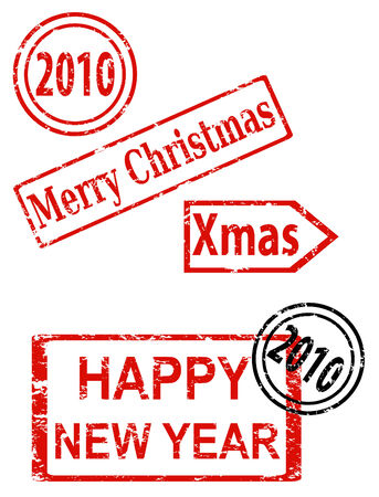 Rubber stamp series - Christmas and New Year Vector