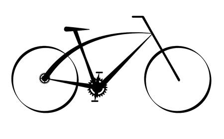 fiets: De moderne zwarte fiets, vector Stock Illustratie