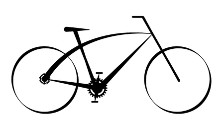 fork in the road: Modern black bike,vector