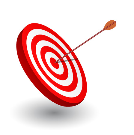 dart board: Arrow right on the target, symbol of winning