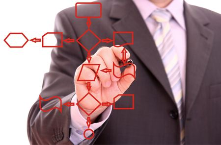 Men drawing a red process diagram photo