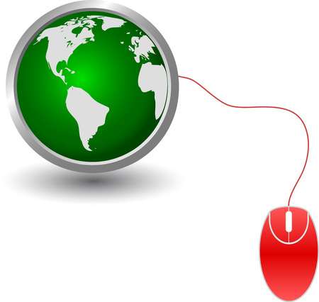 Continents on a green sphere with red mouse, vector Vector