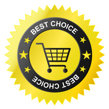 seal of approval: shop basket icon, Best sale Illustration