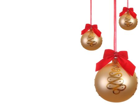 Set of Yellow Christmas ball with ribbons Stock Photo - 5962281