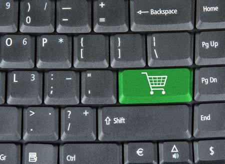 Computer keyboard with green shopping key Stock Photo - 6190246