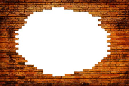 white hole in old wall, brick frame   photo