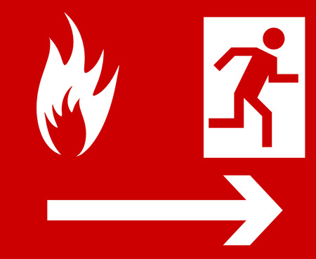 Emergency fire exit door and exit door Vector