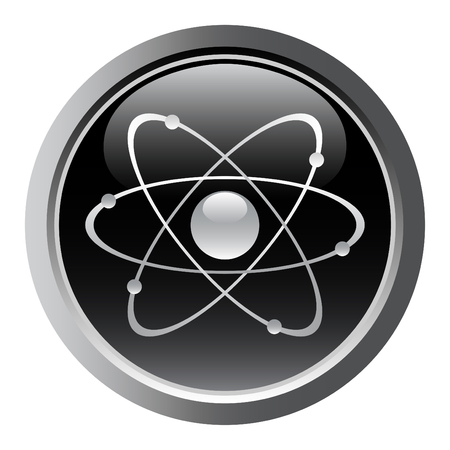 atomic symbol: Atomic symbol as a web button. vector Illustration
