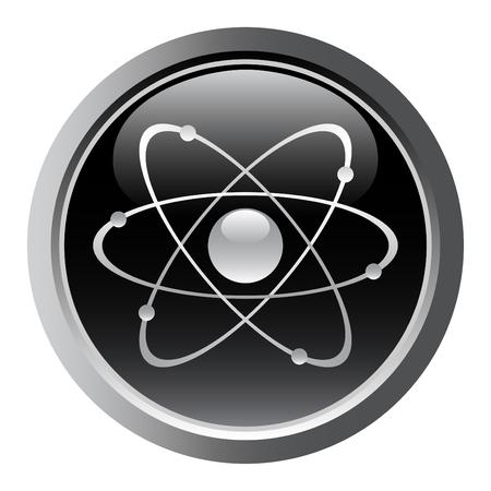 atomique: Symbole atomique comme un bouton web. vecteur