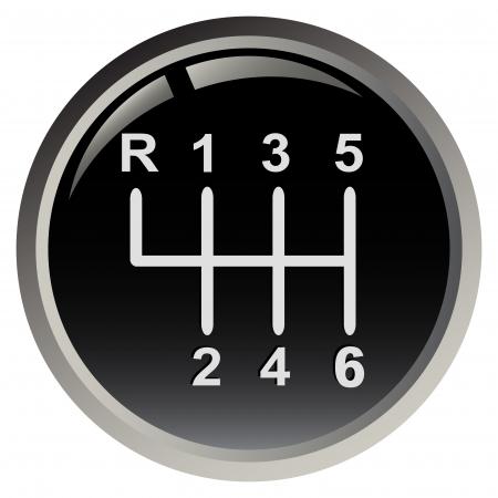 gear  speed: Bastone di marcia della vettura isolato su sfondo nero