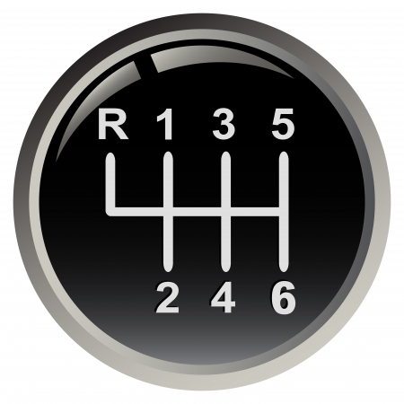 number button: Cars gear stick isolated on black background Illustration