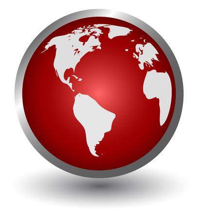 red sphere: continenti su una sfera rossa, pulsante, vettore  Vettoriali