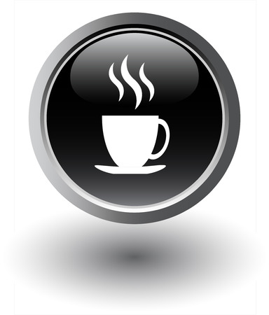 lunch break:  Black tea icon - web button Illustration
