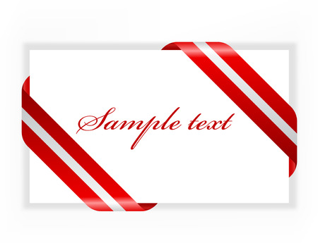 congratulations sign: Envelope or card with beautiful red and silver ribbon Illustration