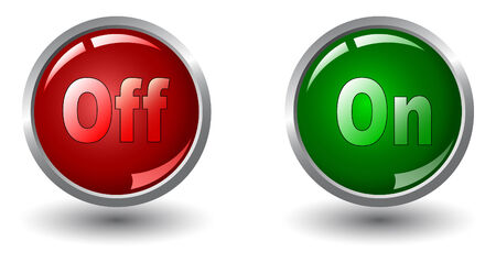 run off: power button icons, red and green- vector Illustration