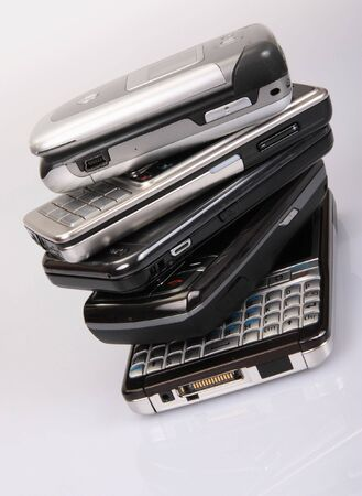 Stack of modern mobile phones