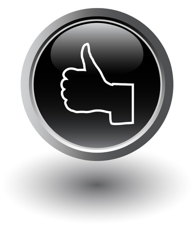 Black  thumbs up web black button Vector