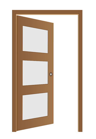 brown opened door Vector