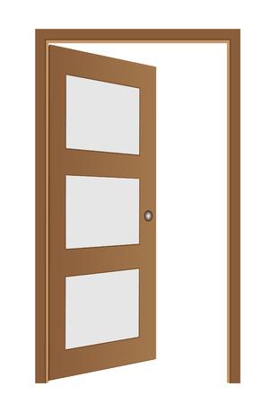 marrón puerta abierta Ilustración de vector
