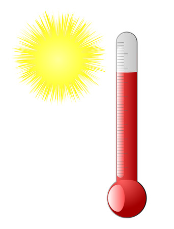hot and cold: red thermometer and hot sun