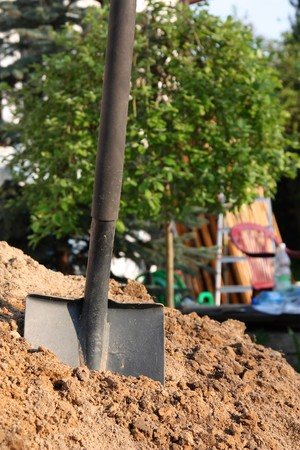 hoeing:  Shovel in the soil