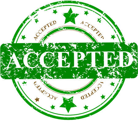 authorize:  Abstract grunge rubber office stamp with the word ACCEPTED and stars Illustration