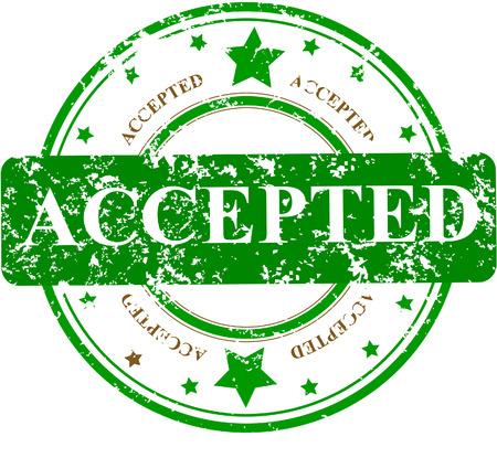 inspeccion: Sello de Oficina de grunge abstracto con la palabra ACCEPTED y estrellas