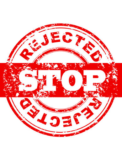 rejected: illustration of Stop sign, red grungy stamp
