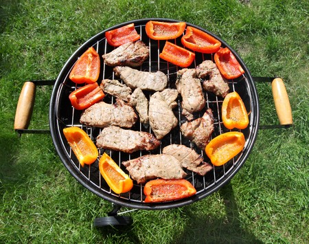 lawn party: Grilling meat and vegetables on green lawn