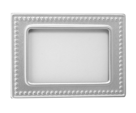 Empty silver picture frame  with a decorative pattern photo