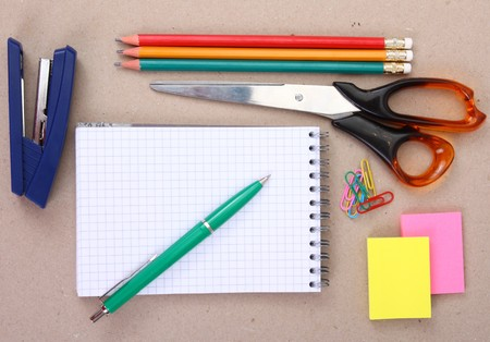 useful: view of the office tools (or school tools)